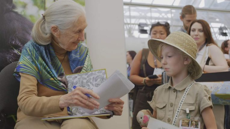 Doctor Jane Goodall in The Hope with a young fan