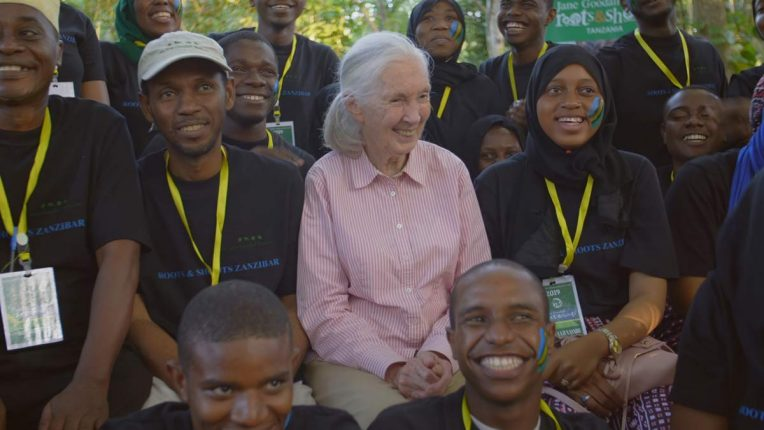Jane Goodall with her Roots and Shoots group