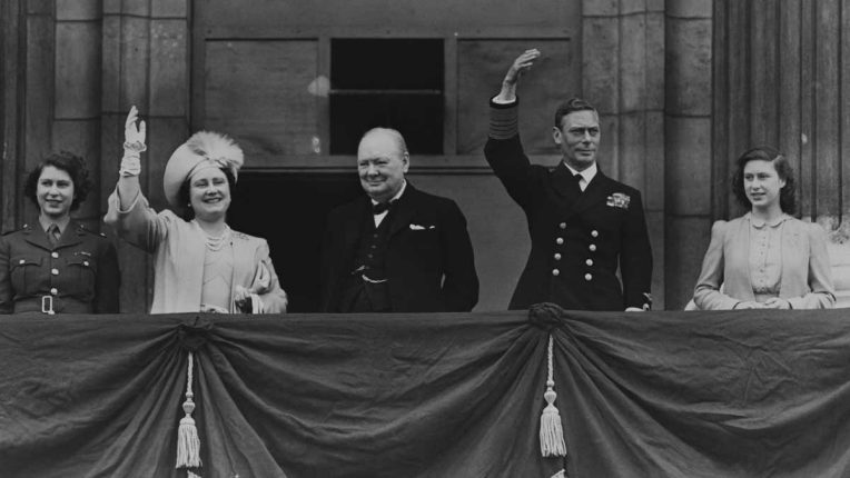 Churchill and the Royal Family on VE Day