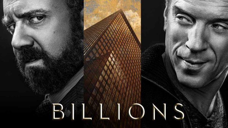 Billions key art with Paul Giamatti and Damian Lewis in the shadows