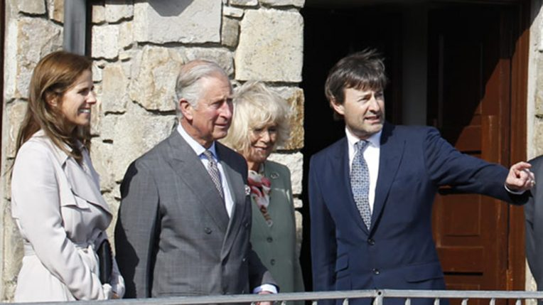 Prince Charles visiting Mullaghmore with survivor Timothy Knatchbull in 2015
