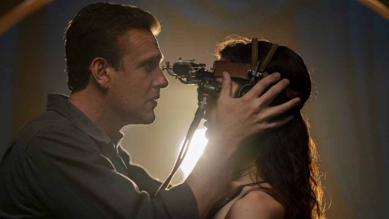Jason Segel and Eve Lindley in Dispatches from Elsewhere