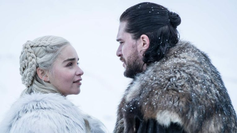 Kit Harington as Jon Snow & Emilia Clarke as Daenerys Targaryen in the final season of Game of Thrones
