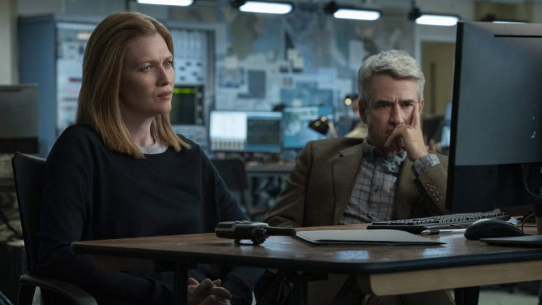 Mireille Enos as Marissa and Dermot Mulroney as Carmichael in Hanna season two