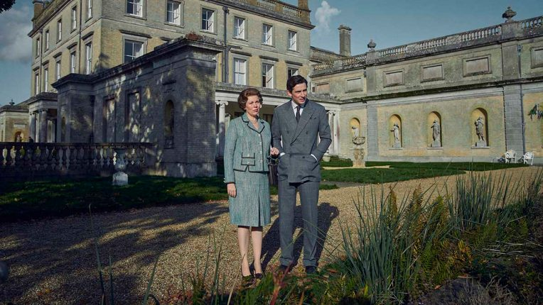 The Queen (Olivia Colman) and Prince Charles (Josh O'Connor) at Highgrove