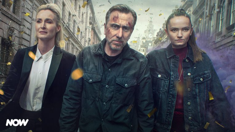 Tim Roth, Abigail Lawrie and Genevieve O'Reilly filming Tin Star in Liverpool