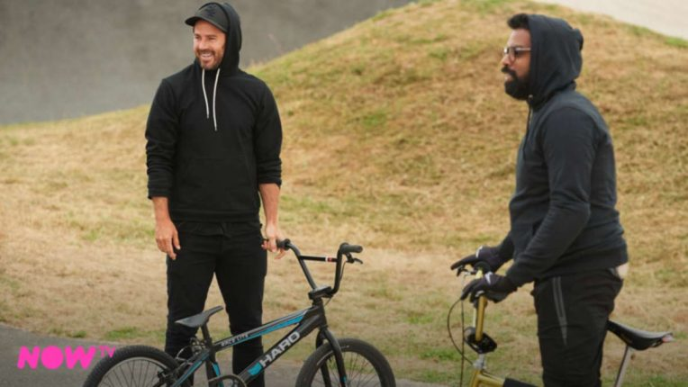 Jamie Redknapp and Romesh on A League of Their Own BMX challenge