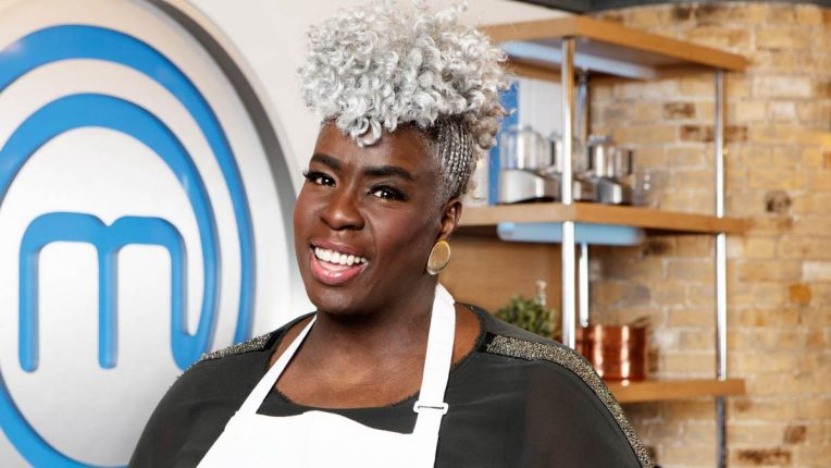 Karen Gibson in the Celebrity MasterChef Kitchen