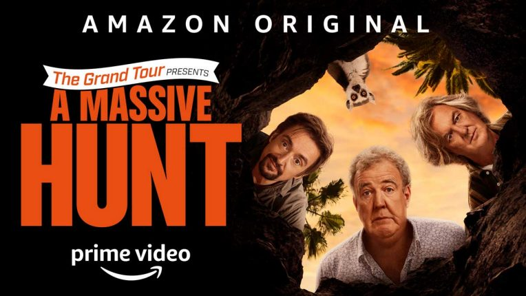 The Grand Tour: A Massive Hunt Madagascar poster featuring Clarkson, Hammond and May looking down a hole