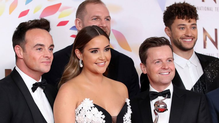 I'm A Celebrity 2019 winner Jacqueline Jossa and hosts Ant & Dec celebrate at the NTAs