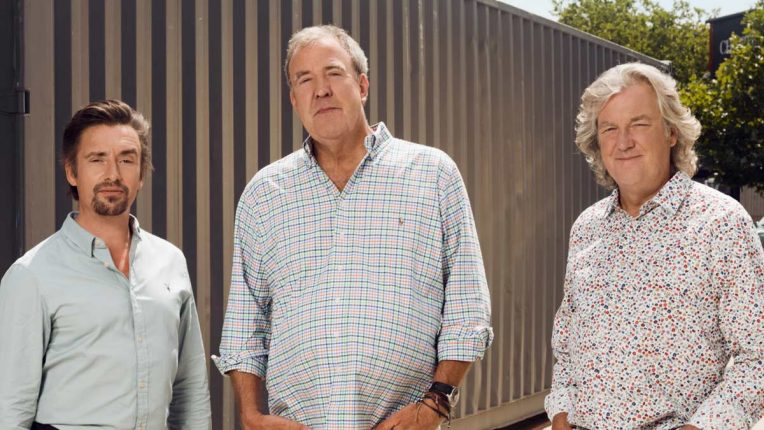 Jeremy Clarkson, James May and Richard Hammond launching the third season of The Grand Tour