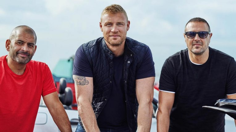 Paddy McGuinness, Freddie Flintoff and Chris Harris on Top Gear