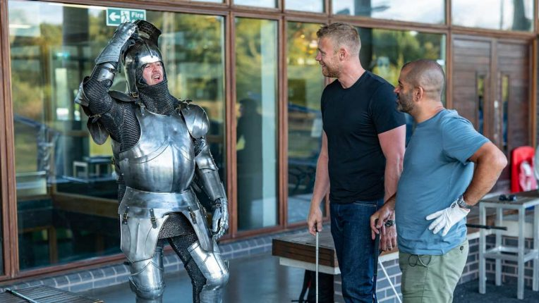 Paddy McGuinness dressed as a knight for Top Gear