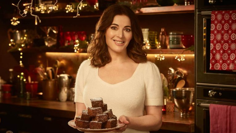 Nigella Lawson holding vegan gingerbread in the Cook, Eat, Repeat Christmas special