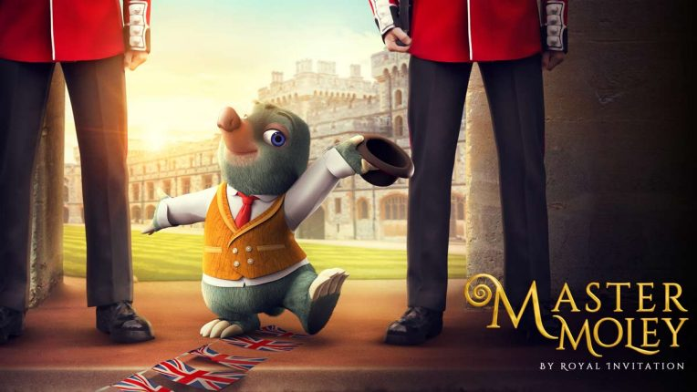 The poster for the Master Moley special on Boomerang - Master Moley poses with two Queen's guards