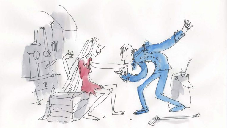 Image shows Cinderella and Prince Charming, an original illustration by Quentin Blake.