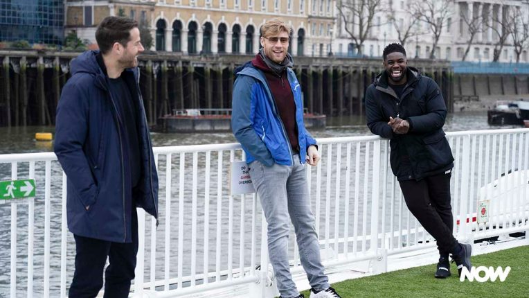 Jamie Redknapp, Freddie Flintoff and Micah Richards in A League Of Their Own Road Trip: Loch Ness To London