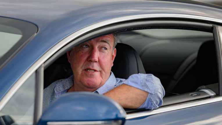 Grand Tour Madagascar star Jeremy Clarkson leaning out of a car window