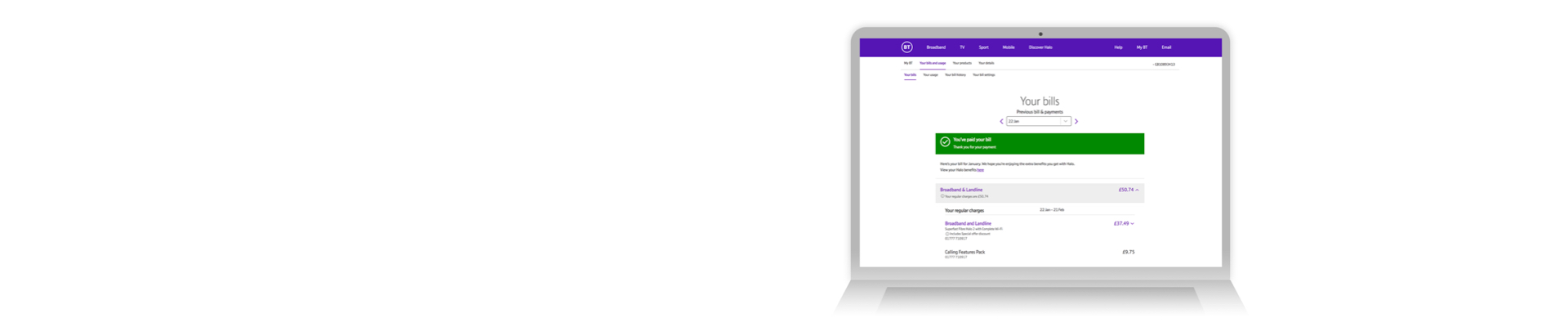 View your bills and manage your account with BT