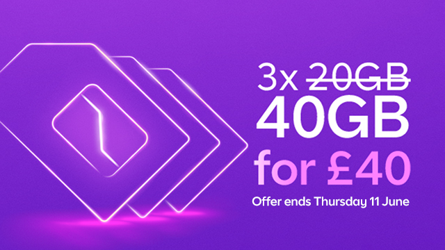 Family SIM 3 times 40GB for £40 deal  - ends 11 June 2020