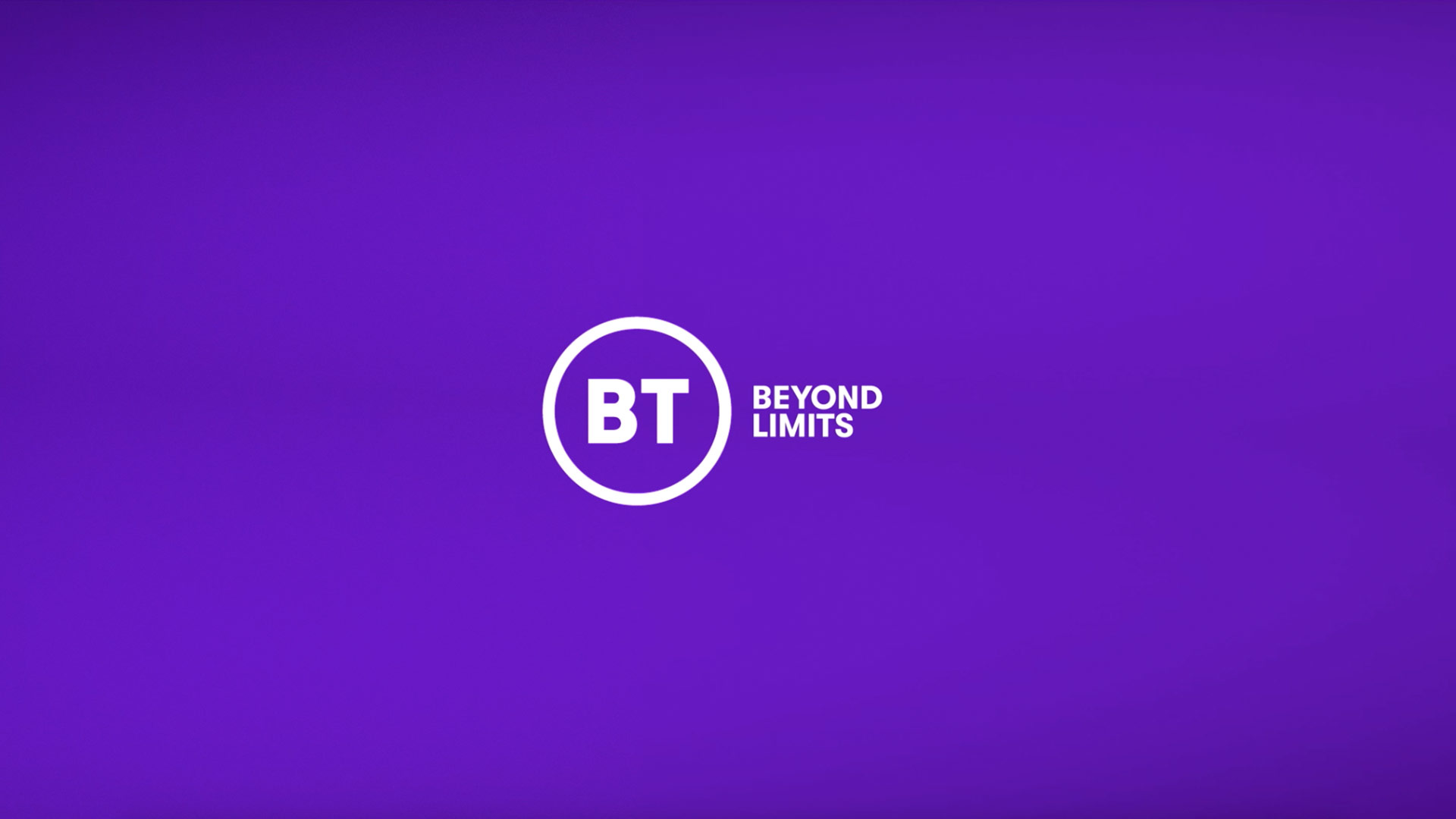 New BT logo following the BT rebrand and text reading beyond limits.